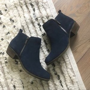 Lucky Brand | Basel Blue Suede Ankle Zip Booties